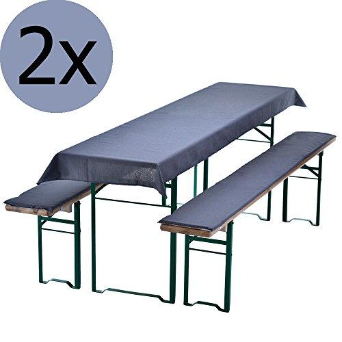 2x Bierbankauflagen-Set 3-teilig in Grau: 1 Tischdecke 240 x 70 cm für 220 x 50 cm Biertische + 2 gepolsterte Bierbankauflagen 220 x 25 cm