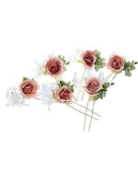 Desconocido 6pcs Horquillas de Flores Pelo de Palillo Guirnalda Accesorios Novia
