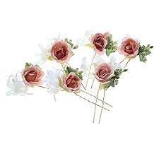 Desconocido 6pcs Horquillas de Flores Pelo de Palillo Guirnalda Accesorios  Novia d92ba653ebf