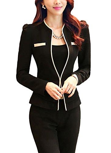 SK Studio Damen Anzug Blazer Mit Hose Slim Fit Business Hoseanzug Karriere Sakko Hose Blazer Set Schwarz Blazer + Hose 38 Tag 2XL