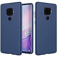 Ttimao Compatible con Funda Huawei Mate 30 Lite Silicona Líquida Gel Cubierta+1*Protector de Pantalla Anti-Shock Funda Protectora con Cojín de Forro de Tela de Microfibra Suave-Azul