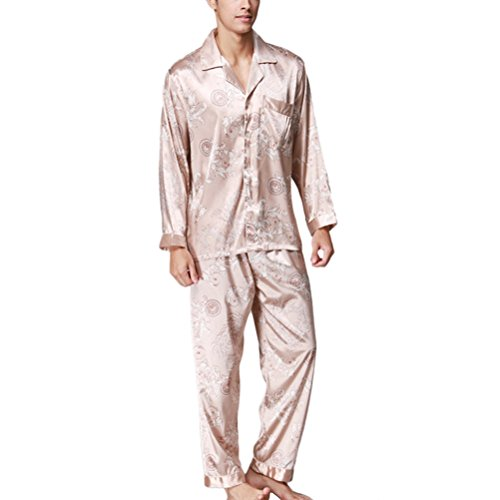 Zhhlaixing Fashion YT16QTZ070 Men's Satin Pyjama Sets Nightdress Sleepwear Light Tan