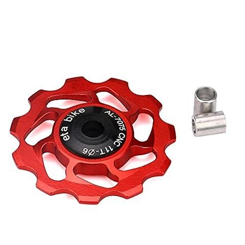 Roulement en céramique à bicyclette par Gaddrt, VTT Jockey Wheel Pulley Road Bike Rear Derailleur, vous rendre plus sûr, 11T (Rouge)