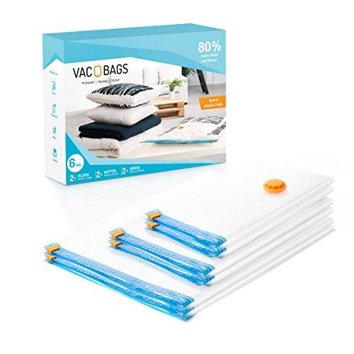 Vac-Q-Bags Premium Vakuumbeutel [ 6 tlg ] starke Spezialfolie, Allergie-Schutz für Bettwäsche, Kleidung, Aufbewahrungsbeutel für Schrank und - Terrasse Schatz Garten