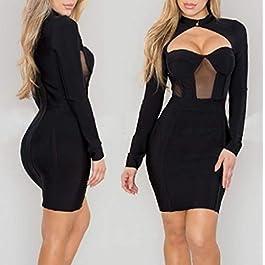 186e772ba3d7 Innerternet Abito da Donna Sexy Design Vuoto Irregolare Cocktail Banchetto  Discoteca Mini Dress al Ginocchio Nero ...