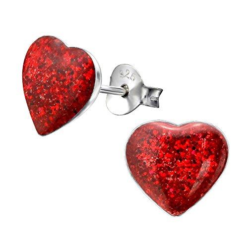 Laimons Pendientes mujer Disco forma corazón Rojo