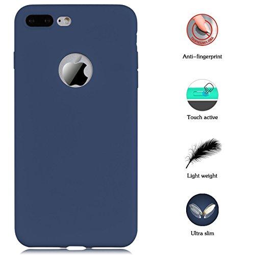 Cover iPhone 7 Plus (5.5),ToDo iPhone 7 Plus Custodia Silicone Ultra Morbido Satinate Opaco Ultra Sottile TPU Flessibile Gomma Cassa Protettiva Gel [Anti-scivolo] [Anti-Graffio] [Antiurto] Leggero Ce Blu navy