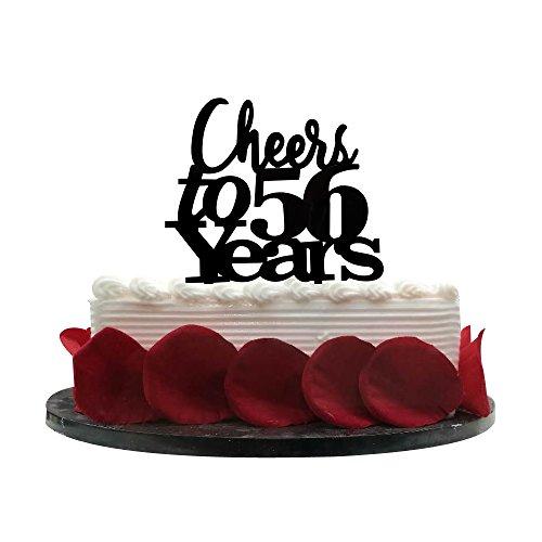 Cheers bis 56Jahre Cake Topper, 56TH Geburtstag, Hochzeit, Jahrestag, Ruhestand Party Wimpelkette Schild Dekorationen Foto props-black