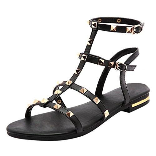 YE Damen Flache Ankle Strap Römersandalen mit Riemchen und Nieten Leder Bequem Schuhe (1/2 Ankle Strap)