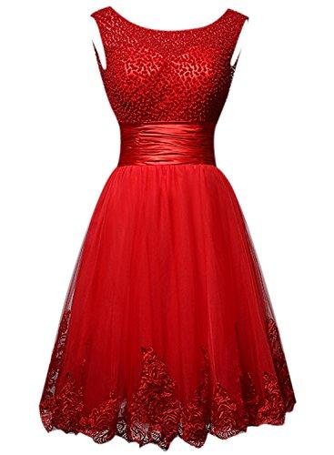 Azbro Women's Elegant Bead Tulle Solid Short Cocktail Dress red