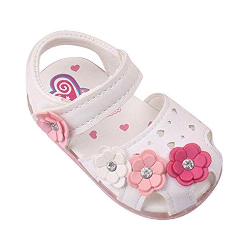 Babyschuhe,Amlaiworld Kleinkind neue Blumen Mädchen Sandalen beleuchtet weichen Sohlen Prinzessin Baby Schuhe (19, weiß)