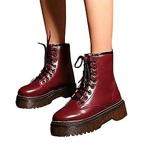 SUCES Damen Stiefel Herbst Mode Retro Schuhe Lace-Up Rutschfeste Schneestiefel Winter Warm Frauen Leder Einfarbige Klassisch Freizeit Boots Warme Gefüttert Stiefeletten