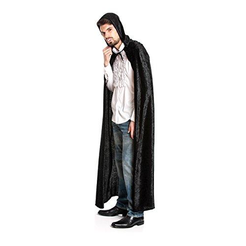 Kostümplanet® Umhang schwarz mit Kapuze für Vampir-Kostüm, Dracula-Kostüm, Mittelalter-Kostüm, Zauberer-Kostüm, Größe: Einheitsgröße, Farbe: schwarz, Samt Optik, Verkleidung, Outfit für Karneval, Fasching, Halloween - Vampir-Umhang