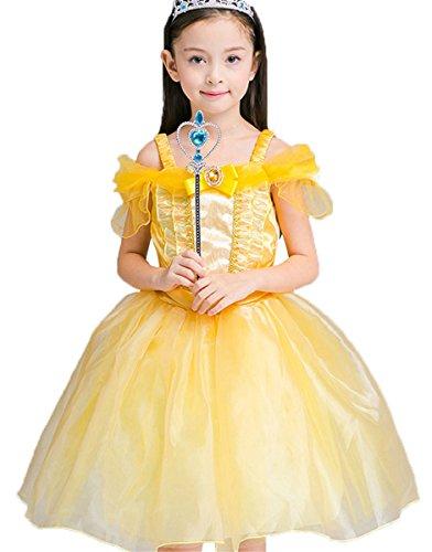 FAIRYRAIN Mädchen Prinzessin Kostüm Cosplay Halloween Belle Einfarbig Drop Shoulder Kleid Karneval Faschingskostüm Festkleid 4-5 Jahre