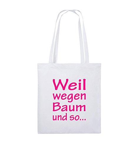 Comedy Bags - Weil wegen Baum und so - Jutebeutel - lange Henkel - 38x42cm - Farbe: Schwarz / Silber Weiss / Pink