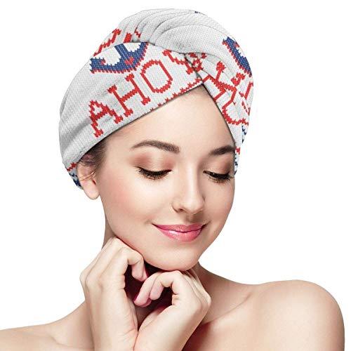 Osmykqe Mikrofaser trockenes Haar Kappe für Bad spa weiches Handtuch für nasses Haar AHOI nautisch Stricken Weihnachten Jumper Stil