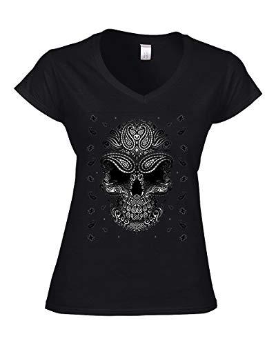 Damen-biker-t-shirts (DarkArt-Designs Bandana Skull - Totenkopf T-Shirt für Damen - Gothicmotiv Shirt Tattoo Biker Metal Fun Party&Freizeit Lifestyle Slim fit, Größe XL, schwarz)
