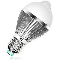 Onoper E27 9W Lampadine LED con PIR Infrarosso Sensore di Movimento per Cortile / Giardino/ Patio / Passo Carraio / Scale / Fuori Muro Bianco Caldo [Classe di efficienza energetica