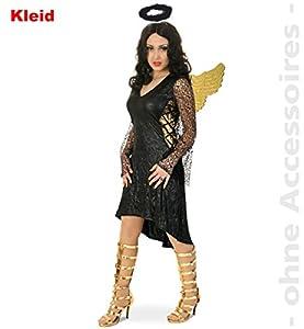 Party-Chic- Disfraz de ángel Negro para Mujer, Talla 42, Color (Fritz Fries & Söhne GmbH 13464)