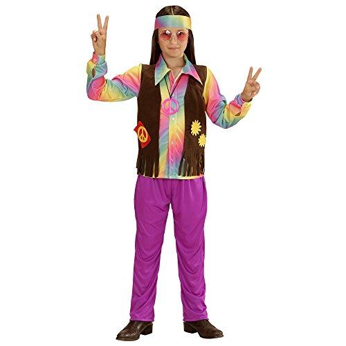 erkostüm Hippie Junge, Shirt, angenähte Weste, Hose und Stirnband, lila, Größe 158 (Blumenkind Junge Kostüme)