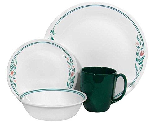 Corelle Geschirr-Set Rosemarie aus Vitrelle-Glas für 4 Personen 16-teilig, splitter- und bruchfest, grün - Corelle Rosemarie