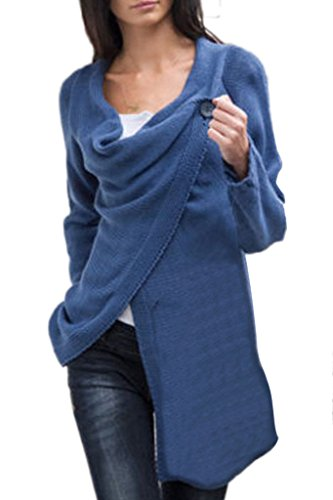 Minetom Donna Primavera Autunno Cardigan Casuale Sciolto Maglione A Maglia Cappotto Orlo Irregolare Cime Blu 46