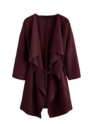ROMWE Damen Leicht Mantel mit Wasserfallkragen Kordel Tasche Locker Knielang Outwear Jacke
