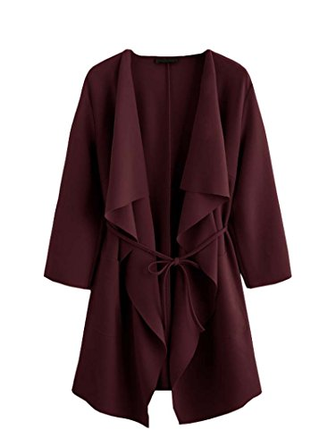 ROMWE Damen Leicht Mantel mit Wasserfallkragen Kordel Tasche Locker Knielang Outwear Jacke Burgundy XS