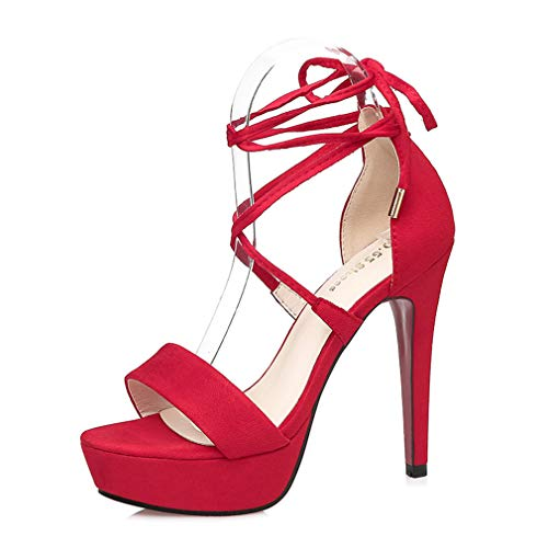 YAN Women es High Heel Sandals 2019 New Suede Ankle Strap Platform Peep Toe Stiletto Party High Heel Dress Shoes Red Black Pink Brown,Red,34