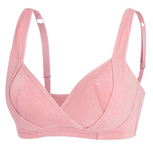 Foto de Dexinx Mujer Sujetador Atractivo de Lactancia Sujetador Ajustable de Enfermería Sin Aros Cómodo Pink L