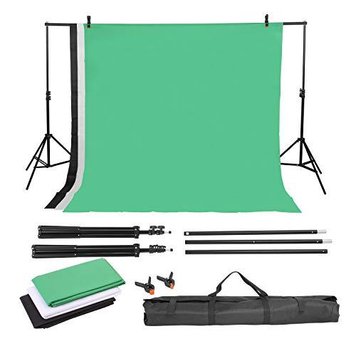 MVPOWER Profi Studio Hintergrundsystem Fotostudio Teleskop Fotoständer Kit inkl. Hintergrund Stoff weiß schwarz grün(nonwoven) +...