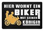 Hier wohnt ein Biker mit seiner Königin Schmutzmatte/Motrorrad / Liebe/Spruch / Lustig - Fußmatte