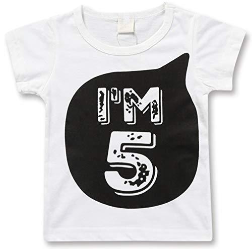Ocean Plus Jungen Baby Schwarz Weiß Baumwolle T-Shirt 1-6 Jahres Alter Mädchen Geburtstagsgeschenk Tops Kleinkinder Tee Shirt (110cm, 1 Jahr alt weiß)