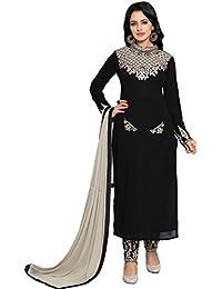 Ethnic Wings Women Georgette Anarkali Semi-Stitched Salwar Suit (EW& ET_ER10462_Black_Free Size)