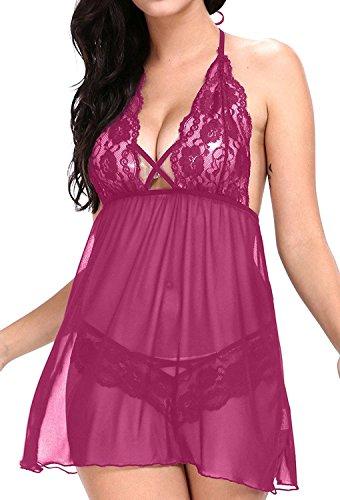 Vilania Damen Nachtwäsche Sexy Nachtzeug V-Ausschnitt Spitze Transparent Kleid Set (Kostüme Sexy Verkauf)