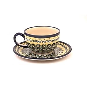 Premium, Original Bunzlauer Keramik–Classic Coffee and Tea Cup with Saucer 0.21l Decor DU1