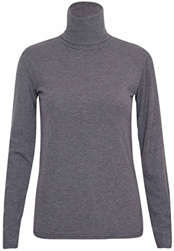 Purple Hanger - Damen Frauen Stretch Basis Geripptes Langarm Einfarbiges Rollkragen Top - EU 36-38, Dunkelgrau (Basis-frauen Pullover)