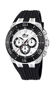 Reloj cronógrafo Lotus 15801/1 de cuarzo para hombre con correa de caucho, color negro