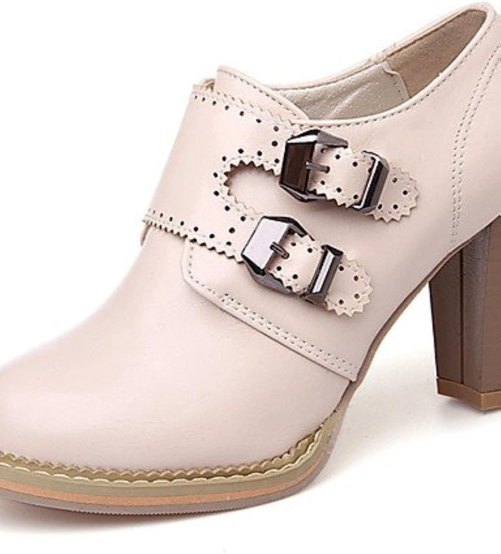 ZQ Zapatos de mujer-Tac¨®n Robusto-Tacones / Plataforma / Punta Redonda-Tacones-Vestido / Fiesta y Noche-Semicuero-Rosa...