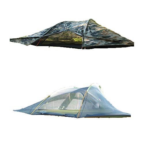 WintMing Hängematte für 2 Personen mit Moskitonetz und Regenfliege hängend, dreieckig, Baumzelt, Hängematten, Triangle Camouflage