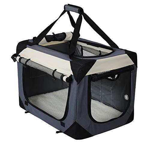 EUGAD Hundebox Faltbar Hundetransportbox Auto Transportbox Reisebox Katzenbox Box mit Hundedecke Oxford Grau 0141HT