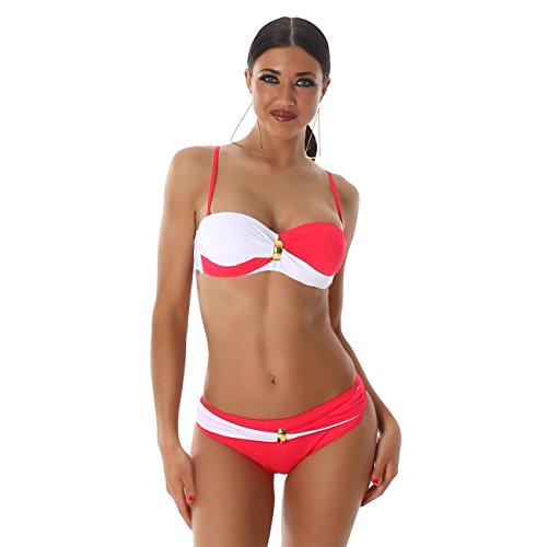 PF-Fashion Bikini Träger Bandeau Bademode Badeanzug Wickel Twist Optik Zweiteiler Slip Top Rot-Weiß
