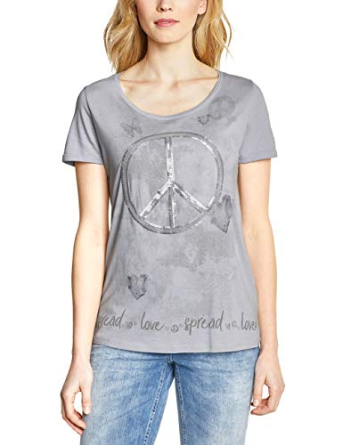 Cecil Damen Print Shirt mit Pailletten cool Silver XXL