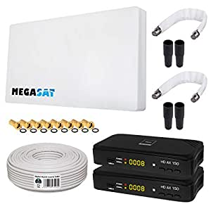 HB-DIGITAL SAT KOMPLETT Set: MegaSat Sat-Flachantenne Twin 2 Teilnehmer Direkt + 2X Recever + Fensterhalterung + 20m Kabel + 2X Fensterdurchführung + 8X F-Stecker + 4X Gummitüllen + 2X HDMI Kabel