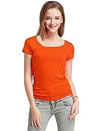 FASHION LINE Women's Orange Short-Sleeve T-Shirt