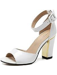 SHINIK Mujeres Ankle Strap Bombas Oro-Rimmed Liso De Cuero De Tacón Alto Sandalias Verano Pez Cabeza De Zapatos Sandalias Peep Toe Zapatos Bloque Heel Corte Zapatos Damas Bombas Negro , white , 40