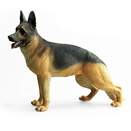 Yowinlo Statuen Dekoartikel Skulpturen Figuren Simulation Tiermodell Ornamente Großer Wolf Hund Deutscher Schäferhund Schwarz Zurück -