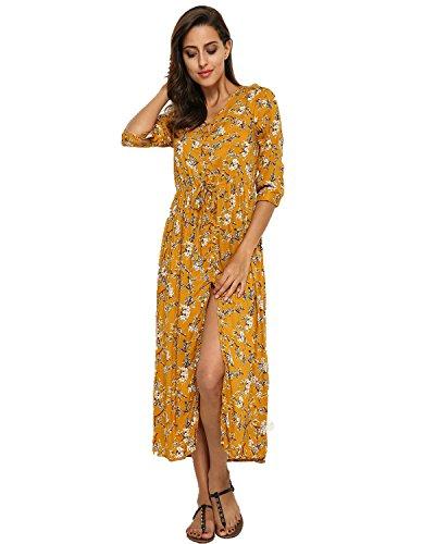 StyleDome Damen Gemischtem Blumenprint V-Ausschnitt Kurze Ärmel Boho Midikleid Gelb692325 42 (Hippie-boho-schlinge)