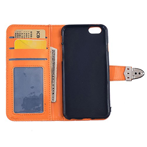 Custodia Apple iPhone 6 / 6S 4.7 inch, iPhone 6S Cover, Metallo Magnetico Pulsante Griglia Sbalzato Slap-up Moda Portafoglio Case Supporto Funzione Pelle Libro Case - Rosa arancia