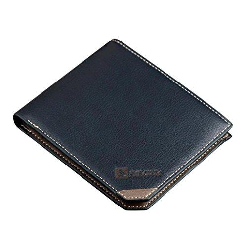 Koly_Uomini borsa del portafoglio della moneta Aperto Breve Portafoglio Card Holders borsa (Blu) Blu